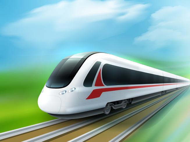 Imagen realista del tren diurno de alta velocidad