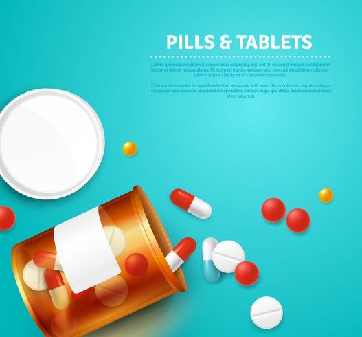Ilustração realista de garrafa de comprimidos