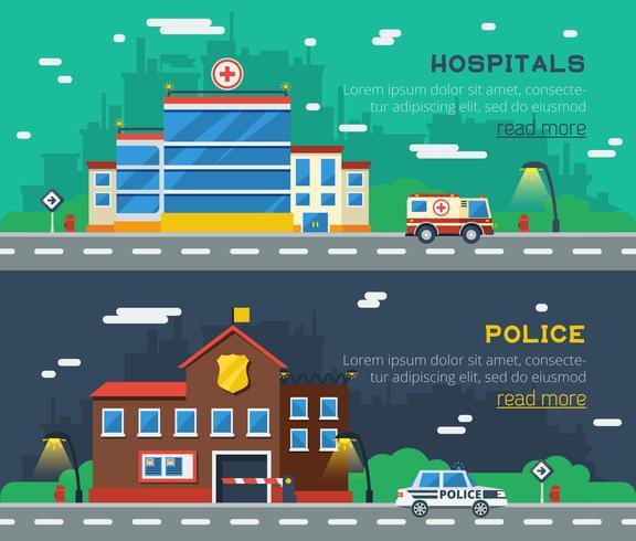 Regeringsbyggnader Två horisontella banderoller vektor