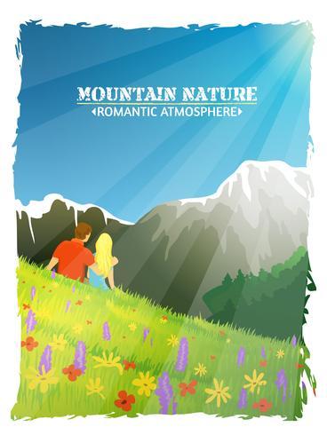 Berg Landskap Natur Romantisk Bakgrund Poster vektor
