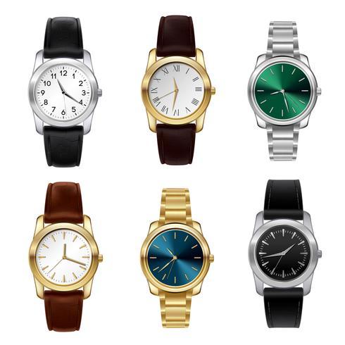 Realistische horloges ingesteld