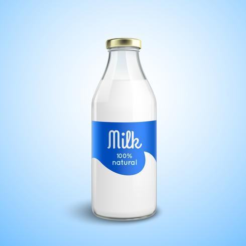 Botella cerrada de leche vector