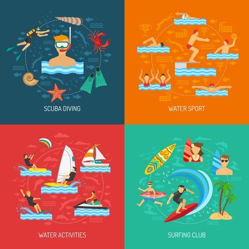 Deporte acuático 2x2 Design Concept vector