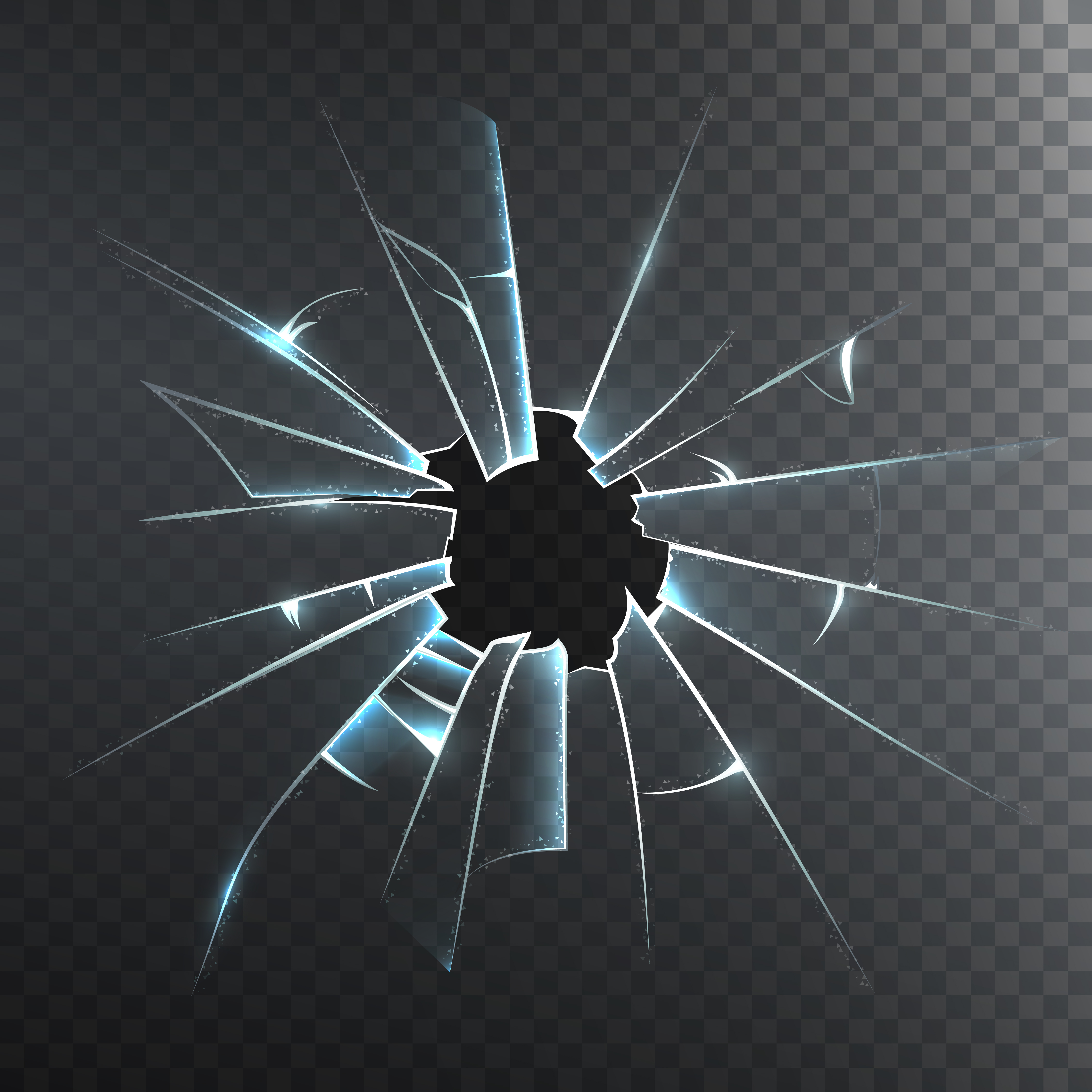 Broken Frosted Glass Realistic Icon Download Free Vector