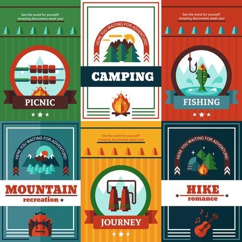 Camping Poster Set vector