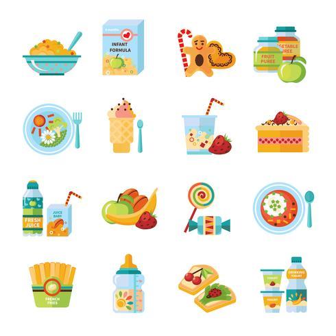 Conjunto de iconos planos de comida de bebé infantil