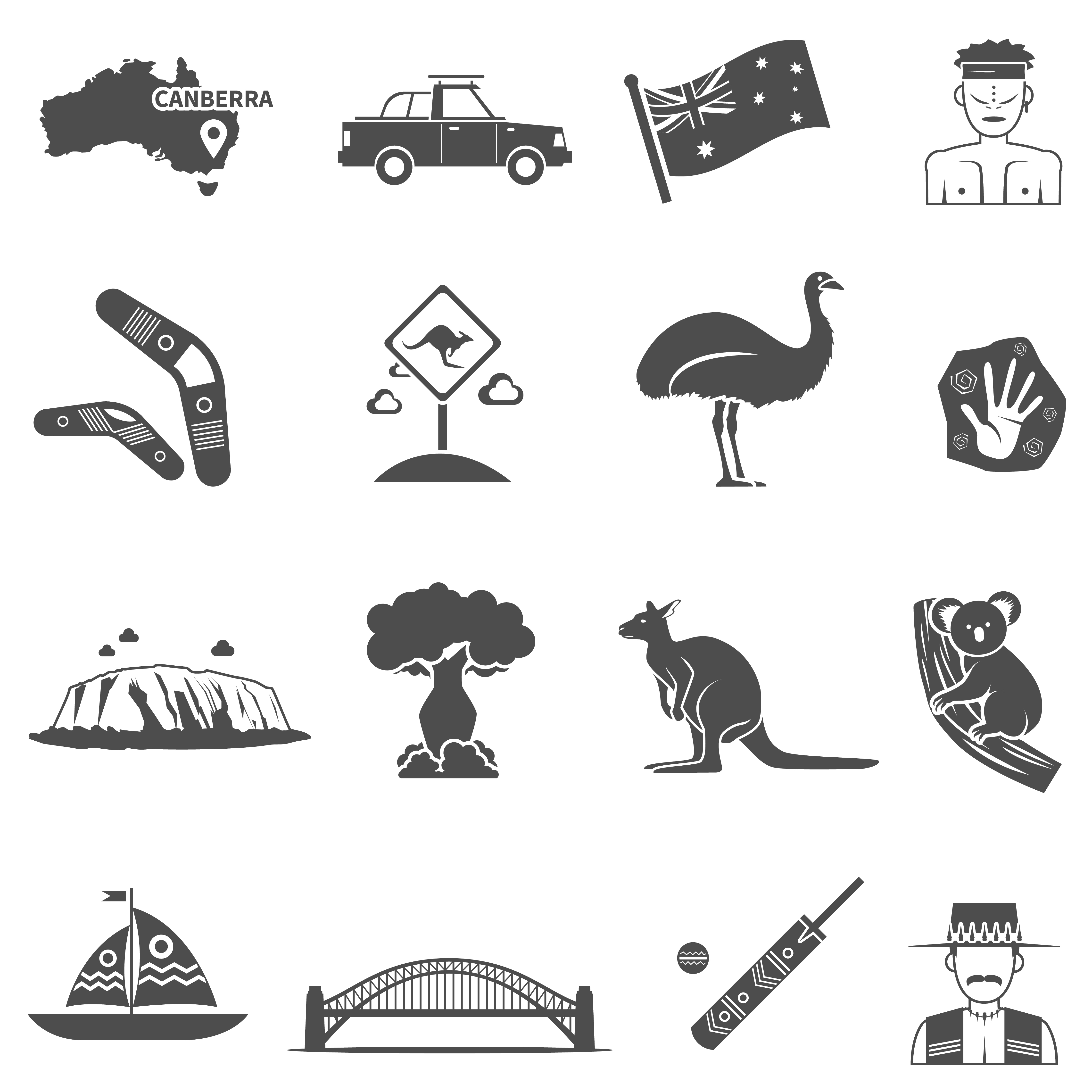 Set Di Icone Bianco Nero Di Australia Scarica Gratis Arte