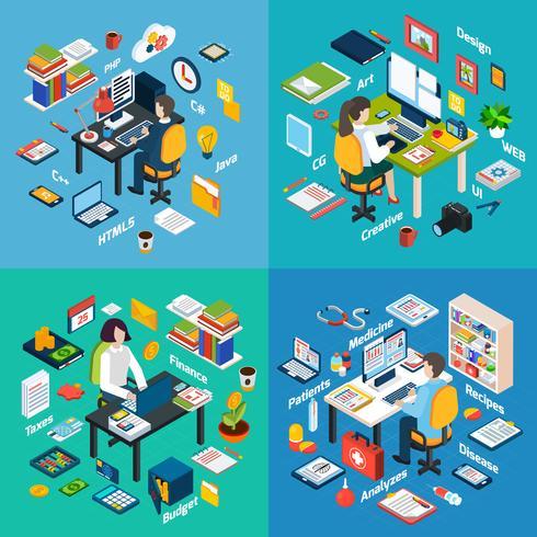 Local de trabalho profissional isométrica 4 ícones quadrados vetor