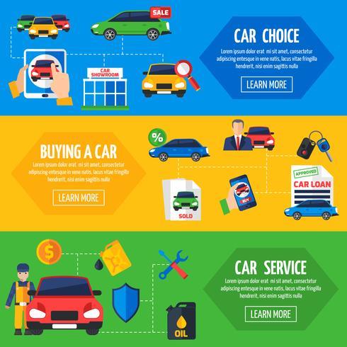 Car Dealership 3 Flat Banners Set