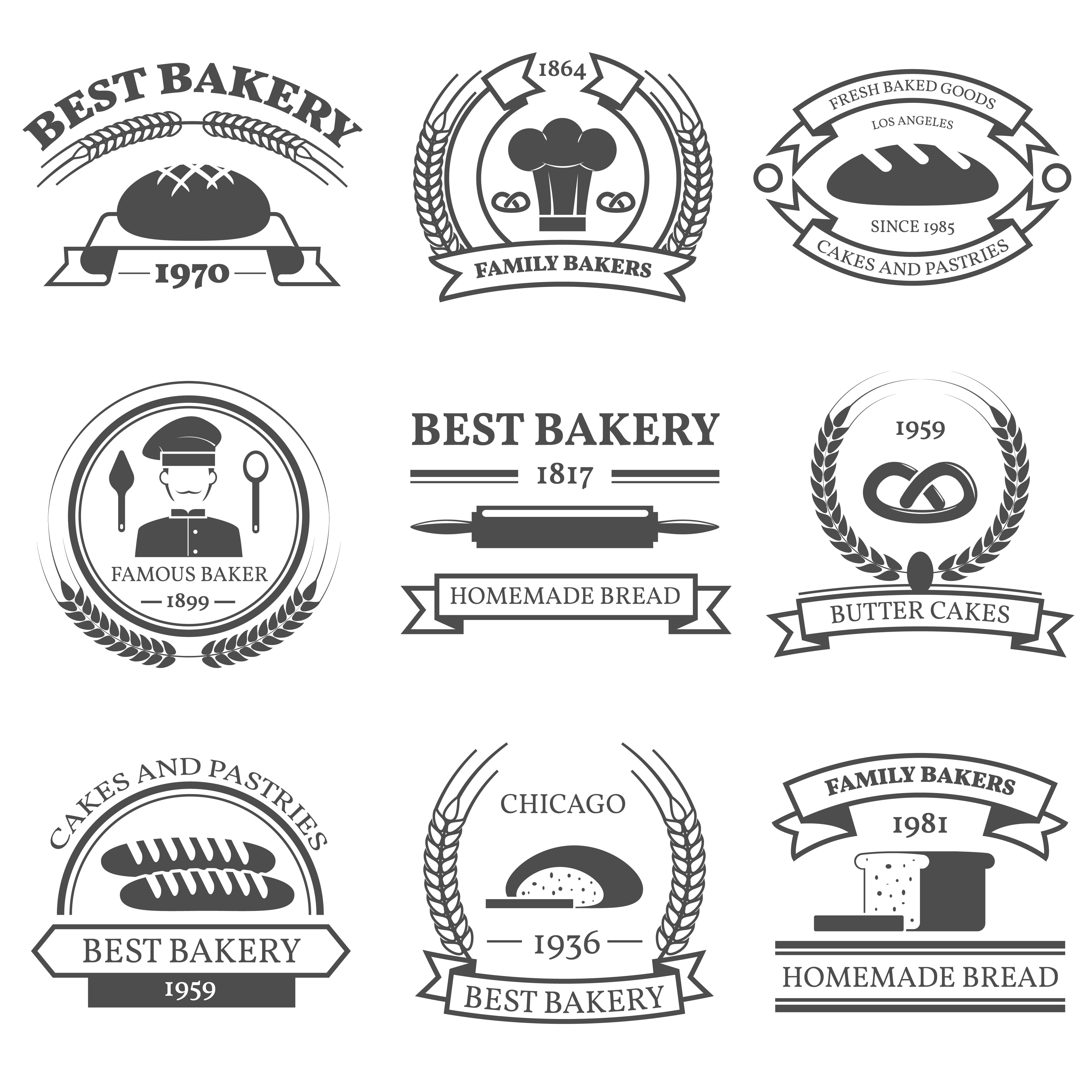 Bakery Black White Emblems Set
