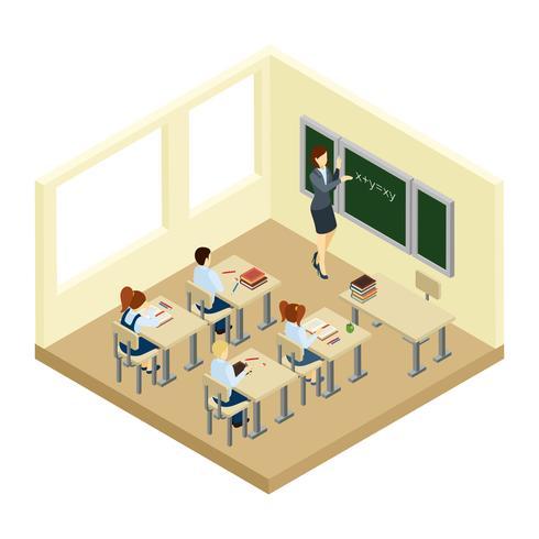 Escuela isométrica ilustración vector