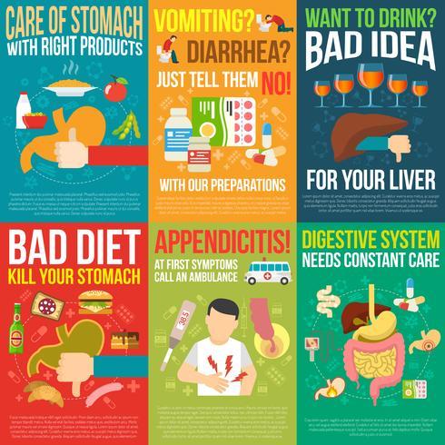 Set de carteles de digestión vector