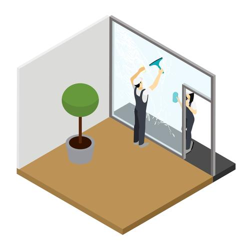 Window cleaning Isometric Interior Composition  vector