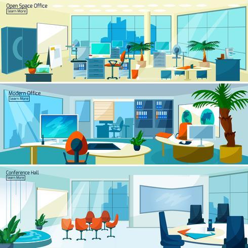 Modernos banners de interiores de oficina vector