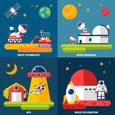 Space Exploration 4 iconos planos cuadrados vector