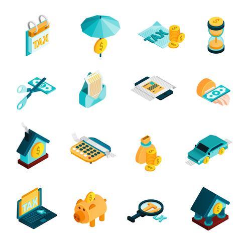 Tax Isometric Icons Set  vector