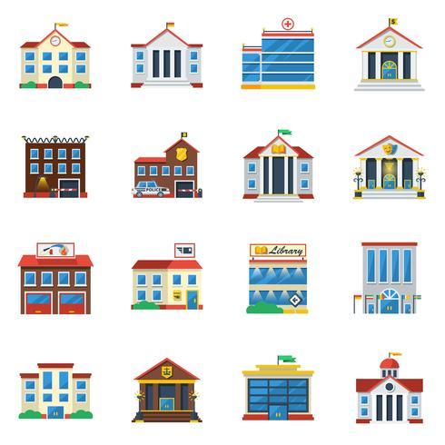 Statliga byggnader Flat Color Icon Set