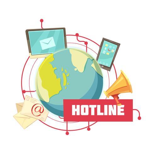 conception de dessin animé rétro hotline