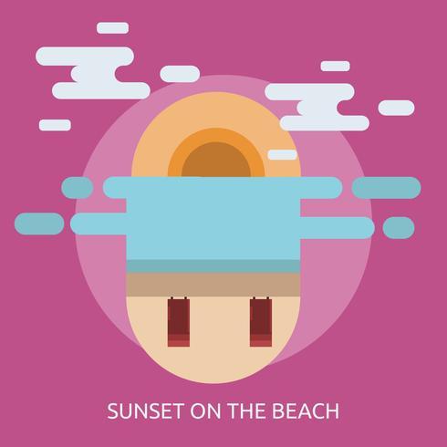 Pôr do sol na praia ilustração conceitual Design vetor