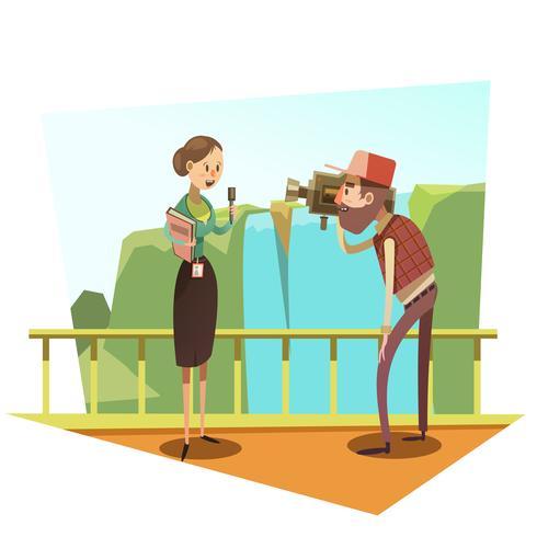 Journalist retro cartoon vector