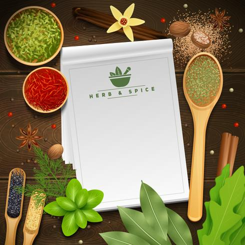 Recipe Book On Wooden Background vector