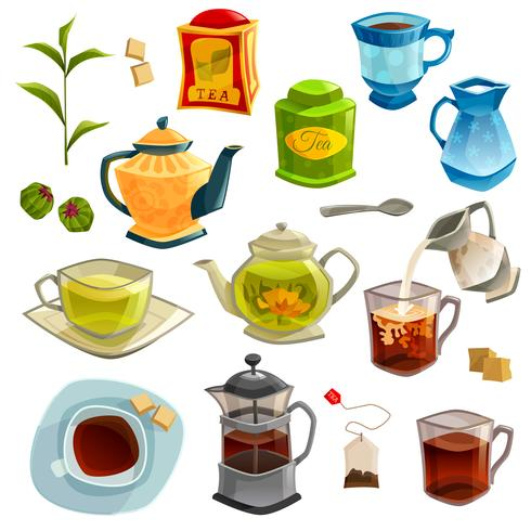 Types Of Tea Set vector