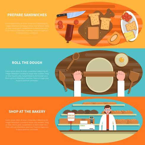Panadería conjunto pancarta vector