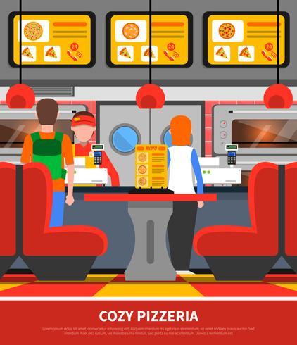 Pizzeria interiör illustration