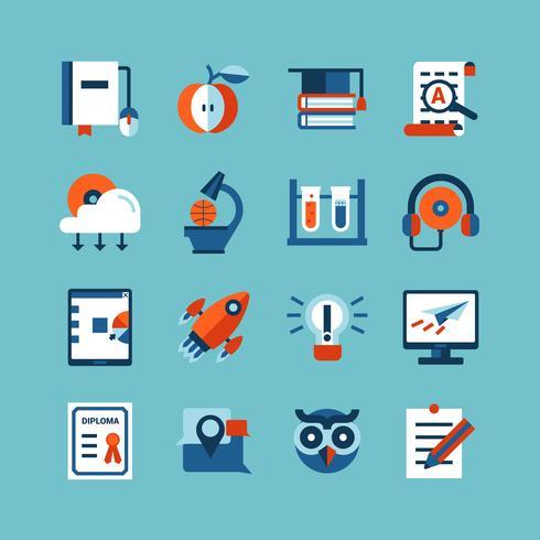 Conjunto de iconos de color de educación en línea vector