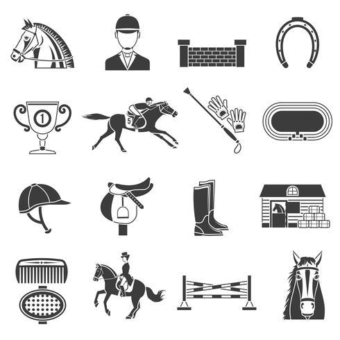 Conjunto de ícones pretos com equipamento de cavalo