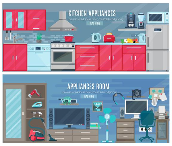 Household  Horizontal Banners With Electronic And Digital Appliances vector