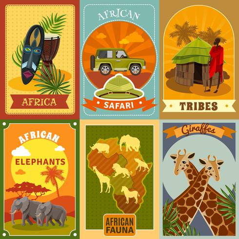 Conjunto de carteles de safari vector