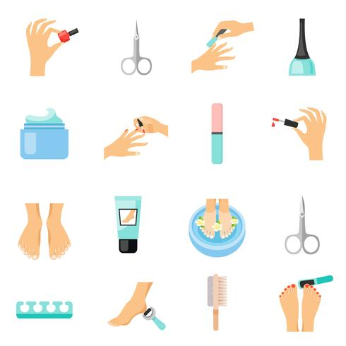 Conjunto de ícones plana de manicure e pedicure vetor