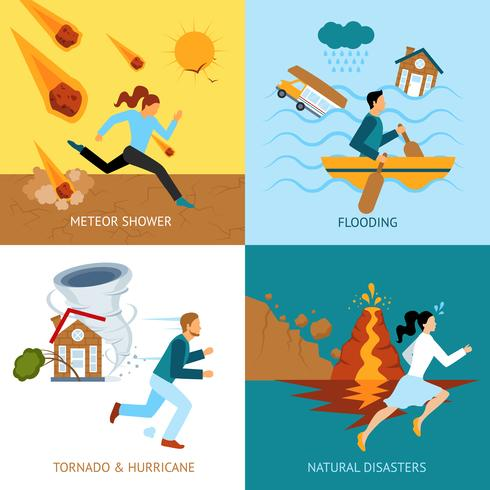 Concept de conception de la sécurité des catastrophes naturelles vecteur