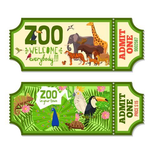 Färgglada Zoo Biljetter Med Tropisk Bakgrund vektor