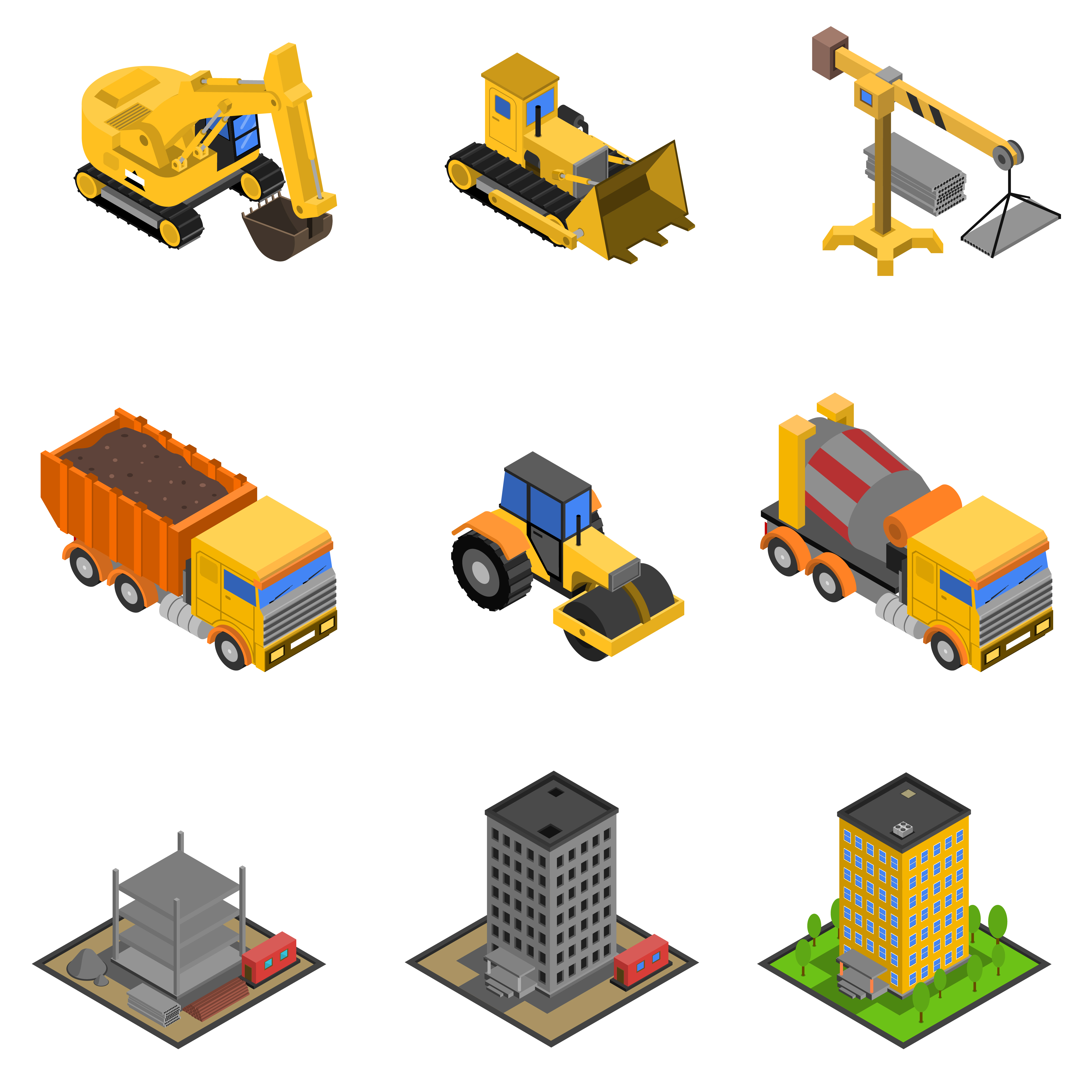 Technology Logo Collection: Construction Isometric Icons Set