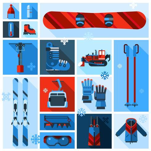 Conjunto de ícones de equipamento de esqui vetor