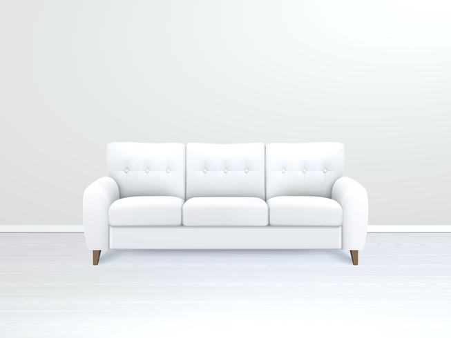 Interior With White Leather Sofa Illustration