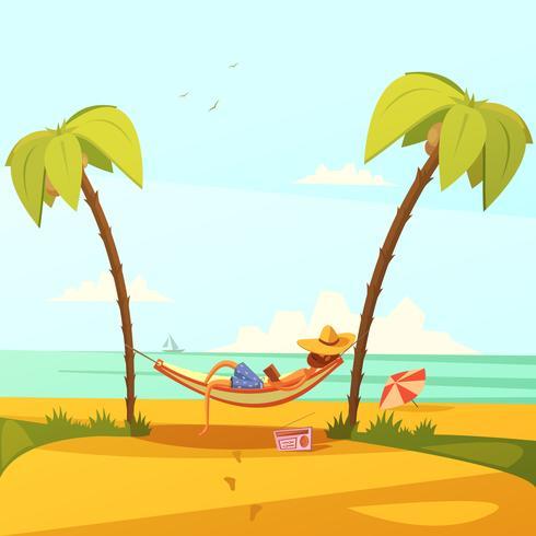 Man på stranden illustrationen vektor