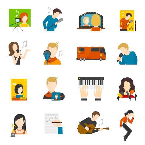 Conjunto de iconos planos de cantante pop