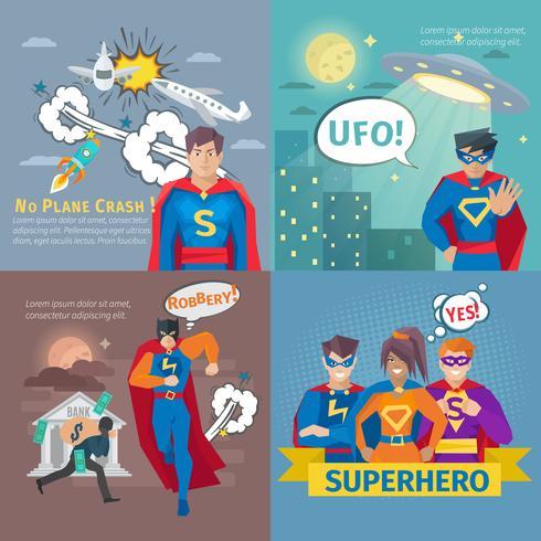 Conjunto de iconos de concepto de superhéroe vector