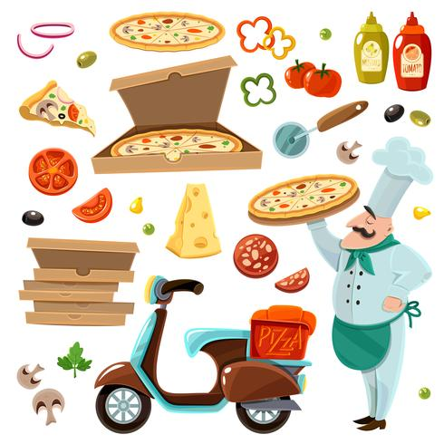 pizza tecknad set vektor