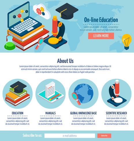 Design de educação on-line de uma página