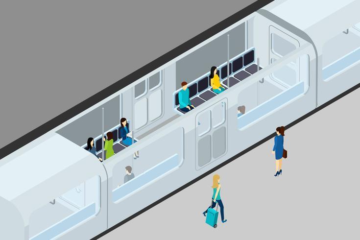 Ondergrondse mensen en trein illustratie vector