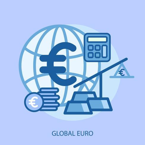 Globaal Euro Conceptueel illustratieontwerp