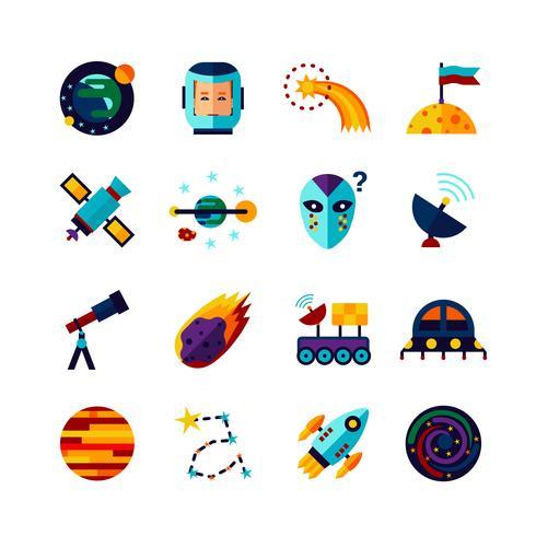 Set di icone piane di simboli dello spazio