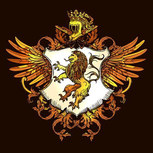 Clásico heráldico real emblema colorido icono vector
