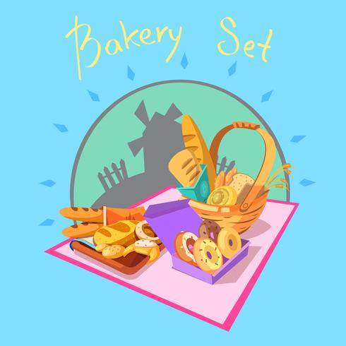 Concepto de dibujos animados de panadería vector