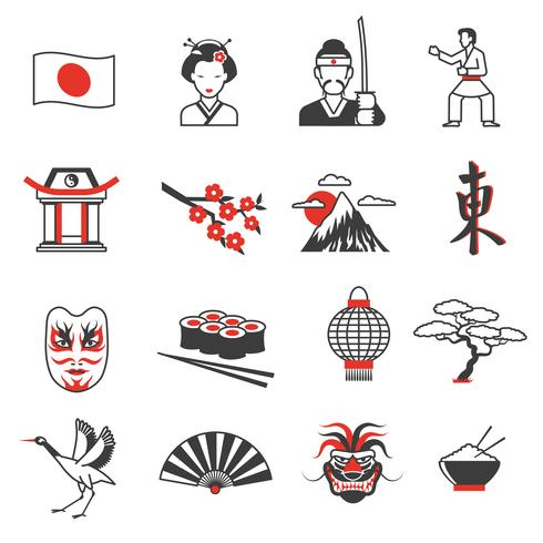 Set di icone nero rosso Giappone