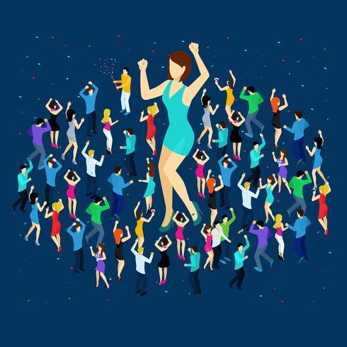 Conceito isométrico de pessoas a dançar vetor